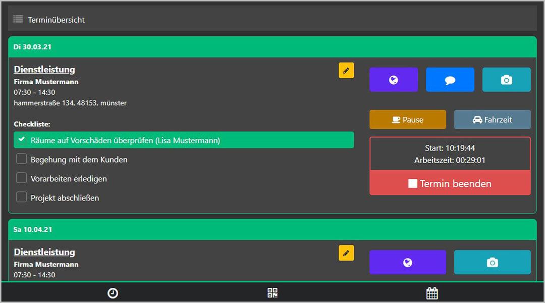 Zeiterfassung App iphone Checkliste